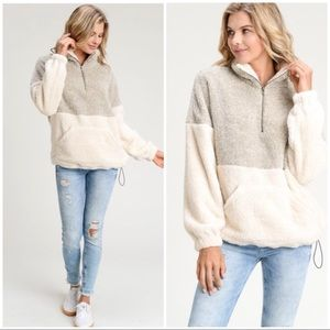 Sweaters - TAUPE IVORY TWO TONE FUZZY SWEATER